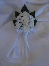 1x Flower girl Wand White foam Roses Wedding Bridal bouquet Flowers