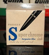 Parker Super-Chrome Ink - 3½ oz Bottle of  Turquoise Ink (50% Full) - 1940s Vint
