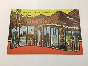 Greetings Scenic Northwest Phantom Ship c1940s Linen Kropp Postcard Unused!