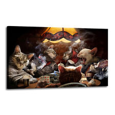 Home Decor Art Quality Canvas Print, Cat Playing Poker Smoke 16x24