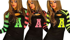 Maglia doppiata top+ coprispalle uniti righe neon maglietta donna nuovo