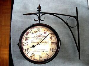 Horloge de Gare Pendule Murale Double Face Elégante jardin Rétro Style