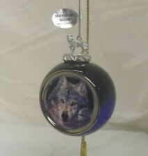 Midnight Snow Bradford Editions 3.5in round porcelain Wolf Ornament 68001