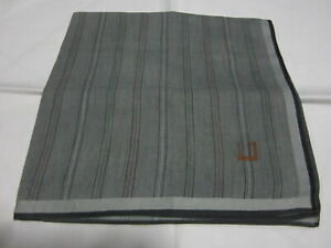 "USED GRAY STRIPED PATTERN COTTON 18"" POCKE SQUARE THANDKERCHIEF HANKY MEN"