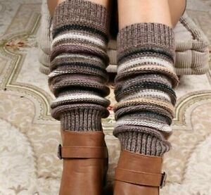 Striped Leg Winter Warmer Cashmere Knitted Boots Cuffs Cover Crochet Accessories