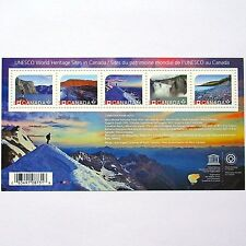 Unesco world heritage sites in Canada 5 post stamps block