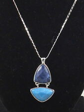 Jessica Simpson Silvertone Aqua Blue Faceted Double Stone Pendant Necklace $28