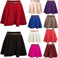 Womens Ladies Plain Belted Flared Short Mini Skater Swing Party Skirt Plus 8-26