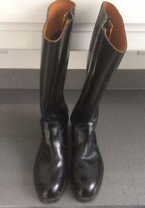 Vintage Police Goldtop Trophy Black Leather Motorcycle Boots. Size 6