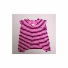 5e4851c8ea1d SPLENDID NWT Fuchsia Pink   Black Striped Girls Boxy Cap Sleeve V-Neck Top  Sz