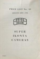 ZEISS IKOFLEX AND SUPER IKONITA PRICE LIST