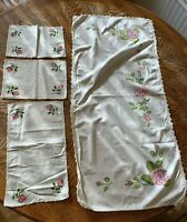 Dresser Scarf 4 piece Set Roses Stenciled painted crocheted edge Vintage