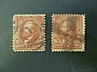 USA Lot of Two 1894 1st Bureau $.06 Garfield #256 Used - See Description