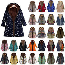 Women Plus Size Winter Warm Hooded Floral Coat Jacket Vintage Zip Hoodie Outwear