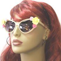 Sunglasses Flower Cat Eye Retro Vintage Style Rose Fashion Blonde Gray