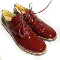 Maison Martin Margiela MM6 Womens Patent Leather Lace Up Shoes Bordeaux Red 37.5