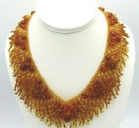 Stunning Handcrafted Artisan Weaved Micro-bead Amber Beads Choker Necklace 17.5""