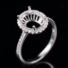 Natural Diamond Semi Mount Halo Ring Settings Oval 8×10mm Solid 14K White Gold