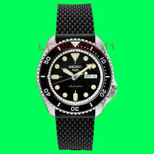 Watch Srpd95 Automatic 100m Silicone Strap New Seiko 5 Mens Black Dial Dive