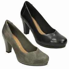 LADIES CLARKS CHORUS CAROL SLIP ON LEATHER FORMAL WORK COURT SHOES PUMPS SIZE