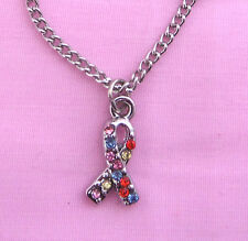 AUTISM AWARENESS Necklace, Crystal Gemstone Ribbon Pendant and Chain 18""