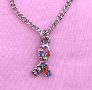 """AUTISM AWARENESS Necklace, Crystal Gemstone Ribbon Pendant and Chain 18"""""""