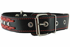 """Braided Studded Leather Dog Collar 1.6"""" wide 19""""-24"""" neck  for Larges Dogs"""
