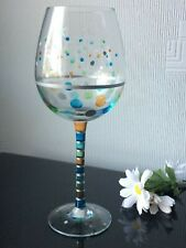Hand Painted Large Tall Single Wine Glass Goblet Dots Coloured Design 450ml Cup