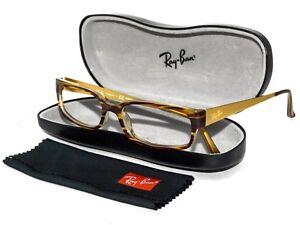Ray Ban Eyeglasses RB 5142 2328 Brown & Gold Rectangular Frame 52[]17 145