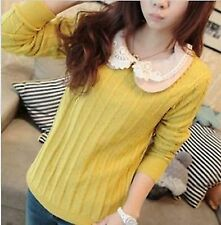 Women Girl Vintage Round Neck Twisted Knitted Sweater Pullover Jumper Cardigan