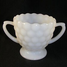 Vintage Milk Glass Bubble Pattern Open Sugar Bowl Double Handle Anchor Hocking