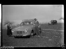 Portrait famille + voiture ancienne  - Négatif photo ancien