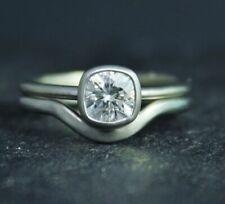 Engagement & Wedding Ring Set Solitaire VVS1 2 Ct Cushion Diamond 14k White Gold