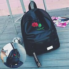 Women Embroidered Rose Backpack Girls Boys School Bag Pack Travel Tote Handbag