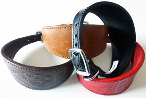 CELTIC Embossed Leather Whippet, Greyhound Collar Dog Collar all Sizes