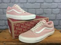 VANS MENS UK 9 EU 43 OLD SKOOL PINK WHITE SUEDE TRAINERS T