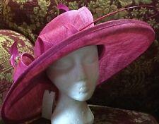 """Stunning Cerise Pink Wedding Hat by Peter Bettley BNWT Big Asymmetric Brim 17"""""""
