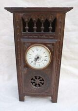 Vintage French Cut Carved Wood Armoire Grandfather Clock for Doll Quimper