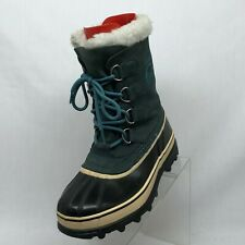 Sorel Caribou Teal Leather Rubber Waterproof Snow Winter Boots Womens Size 8