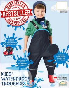 Waterproof Overall Rain Pants Kids Windproof Outdoor Trousers Children Outerwear