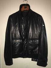 NEW Paul & Shark Jacket Giacca Real LEATHER LUXURY Collection BLACK DOUBLEFACE L