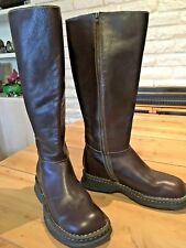 Women's BORN Tall Brown Leather Riding Boots Wide Calf Side Zip New w/o box #870