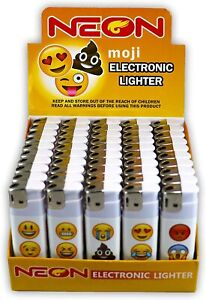50x Emoji Neon Electronic Disposable Lighters, (50 Pack) (Full Display Box)