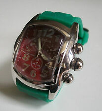 ELEGANT GREEN SILICONE BAND/SILVER FINISH DEEP RED DIAL MEN'S FASHION WATCH