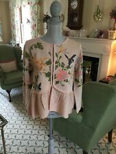 NWT Anthropologie Moth Embroidered Beaded Floral Bird Cardigan Sweater SZ M $168