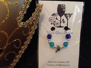 Wine Glass Charm - Single / Beaded - Dolphin (Blue)