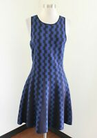 Ann Taylor Blue Fit and Flare Knit Dress Size S Geometric Print Sleeveless