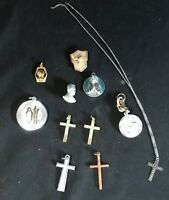 Lot of Vintage Religious,Medals, Cross Crucifix Pray
