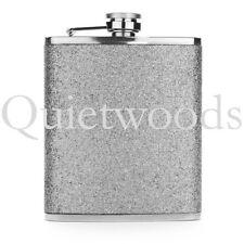 Silver Glitter Bling Stainless Steel Hip Drinking Liquor Flask 7oz