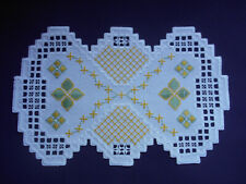 New listing Hardanger Doily with Yellow flowers
